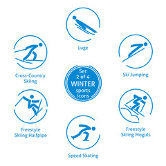Winter sports icons set, 2 of 4, vector pictograms