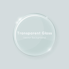 Transparent round vector glass shape. Abstract geometric crystal clear glass design element template with transparency.