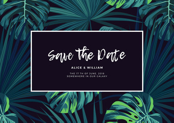 Dark tropical wedding design with jungle plants. Vector tropical background with green sabal palm and monstera leaves.
