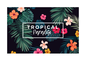 Tropical vector postcard design with bright hibiscus flowers and exotic palm leaves on dark background.