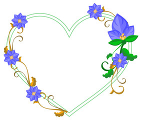 Heart shaped decorative frame with abstract blue flowers. Vector clip art.