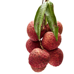 Fresh lychees with leaves