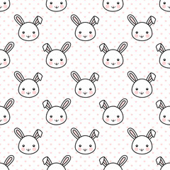 Seamless Pattern with Cute White Bunny Rabbit