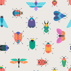 Bugs, insects, Butterfly, ladybug, beetle, swallowtail, dragonfly collection. Modern set of icons, symbols and illustrations