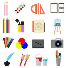 Cartoon Art Color Icons Set. Vector