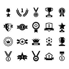 Silhouette Black Awards Icon Set. Vector
