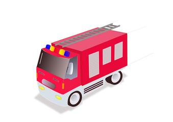 illustration of firefighter truck on white background
