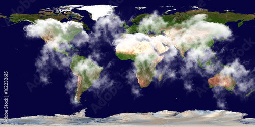High Resolution Earth Continents Clouds Flat World Map From Space