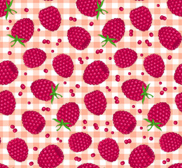 Seamless Pattern with Raspberries on Checkered Tablecloth Background. Berries Seamless Texture.