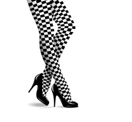 Vector Illustration of Female Legs in Checkered Stockings and Black High Heeled Shoes
