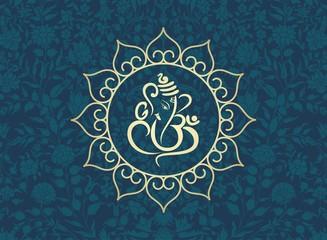 Ganesha, traditional Hindu wedding card, royal Rajasthan, India