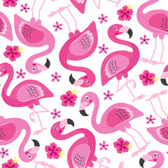 seamless pattern with pink flamingo - vector illustration, eps