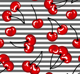 Estores personalizados con tu foto cherry berry seamless pattern on striped background