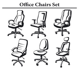 office executive chairs silhouette set