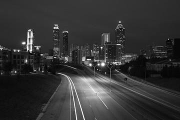 Black and white photo of Atlanta city night skyline