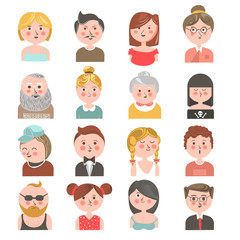 People avatars of all ages colorful collection on white