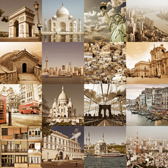 Cities of the world vintage collage, city travel and tourism concept