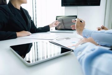 Startups businessmen teamwork brainstroming meeting to discuss plan startup project.