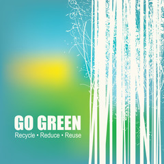 Go Green Recycle Reduce Reuse Eco Poster Concept. Vector Creative Organic illustration on abstract colored background.