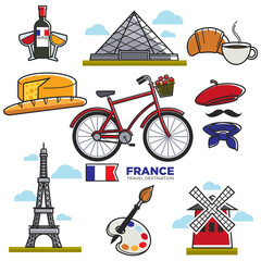 Travelling to France, touristic map with traditional elements