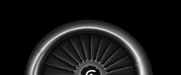 Engine airplane. close up of turbojet of aircraft on black background