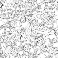 Seamless abstract vector doodle background, summer cartoon wallpaper. Comic pattern. Anti stress coloring book page for adults