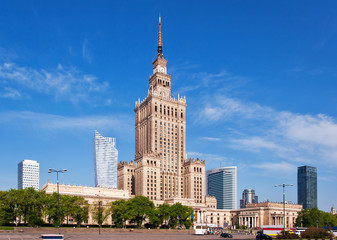 Warsaw city center with Palace of Culture and Science (PKiN), a landmark and symbol of Stalinism...