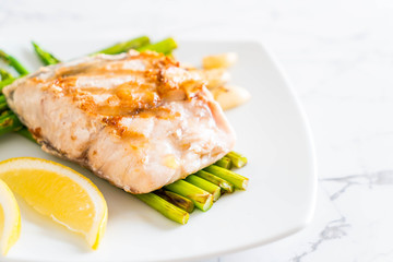 grilled snapper fish steak