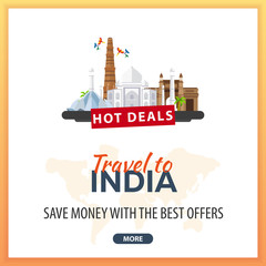 Travel to India. Travel Template Banners for Social Media. Hot Deals. Best Offers.