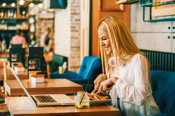 Business Woman Having Breakfast