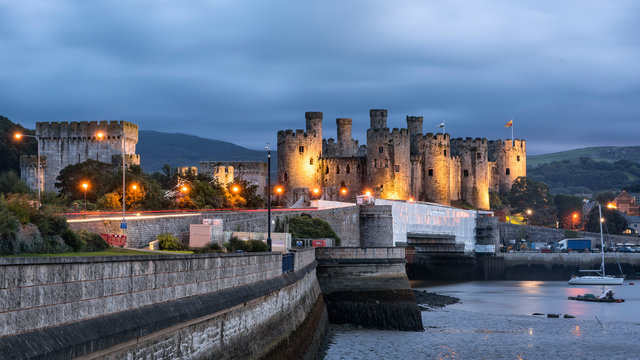 Conwy, Wales, United Kingdom - September 16, 2016: World heritage Conway castle in Wales in evening.