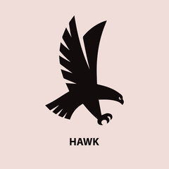 Hawk black silhouette on white background. Logo for your design. Vector illustration.