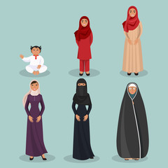 Arabic women generations from child to elderly person
