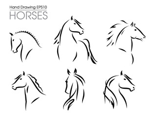 Set of hand drawn vector horses silhouettes