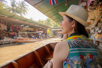 Tourist on Asia travel looking at Thai landscape