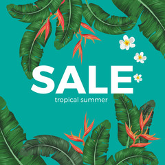 Sale tropical summer poster with green leaves and exotic flowers