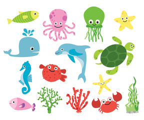 Cute vector sea creatures. Colorful cartoon illustrations of fish, octopus . turtle, starfish.