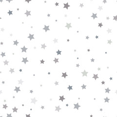 Abstract white modern seamless pattern with silver stars. Vector illustration. Shiny background. Texture of silver foil.