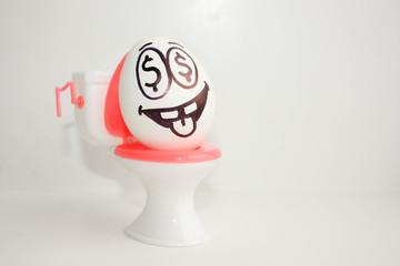 Concept of a rancid, utopian business. An egg