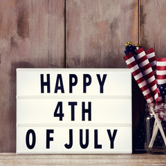 text happy 4th of july and american flags