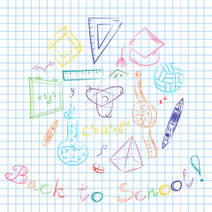 Colorful Hand Drawn School Symbols. Children Drawings of Ball, Books,Pencils, Rulers, Flask, Compass, Arrows Arranged in a Circle on a Sheet of Copybook in a Cage. Doodle Style Vector Illustration.