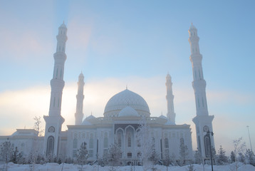 Mosque in the cold winter morning
