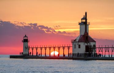 Garden Poster Lighthouse Solstice Sundown at St. Joseph Lighthouses