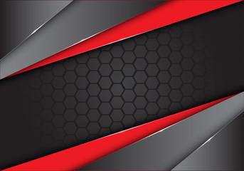 Abstract red black metallic on dark hexagon mesh design modern creative background vector illustration.