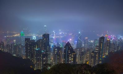 Hong Kong Panorama bei Nacht