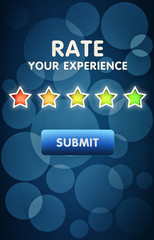 Online customer feedback and review concept, mobile interface screen with a five star rating of usage experience
