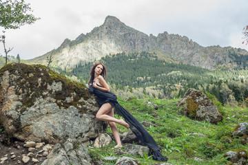 Nude beautiful Russian girl model nature