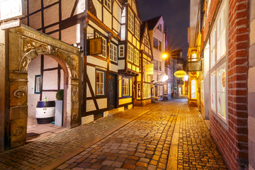 Medieval Bremen street Schnoor with half-timbered houses in the centre of the Hanseatic City of...