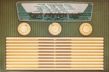 Front of a vintage plastic radio