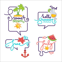 summer season doodle stickers, labels, emblems, logo